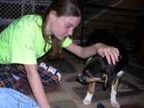 Saying hello to Chloe on Jan. 6, 2010.
