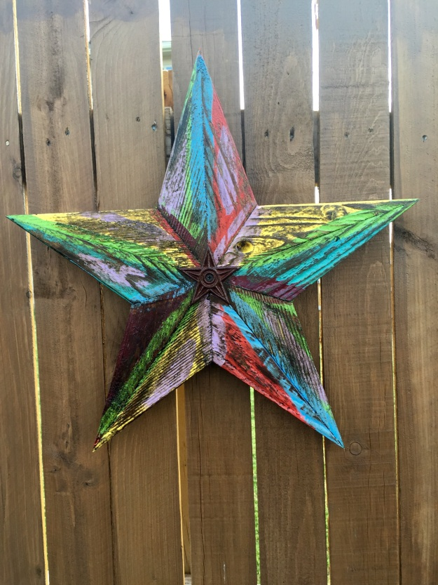 A colorful Texas star is a nice addition to the backyard.