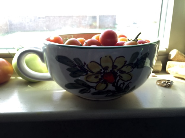 Cherry tomatoes get the honor of sitting in a bowl that belonged to my grandmother.