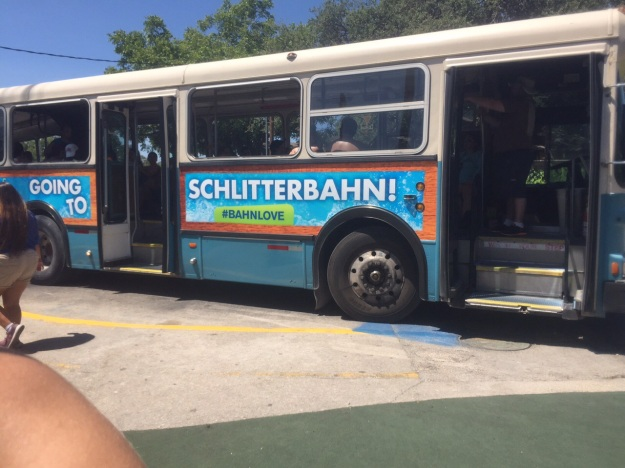 Trams take waterpark visitors between the original and new Parks at Schlitterbahn.