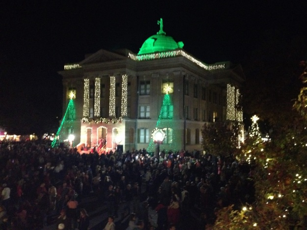 Holiday lighting of the Georgetown, Texas, square on the Friday after Thanksgiving. It was in the low 70s.